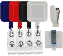 economy square badge reels with belt clip