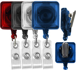 blank square translucent badge reels with spring clips